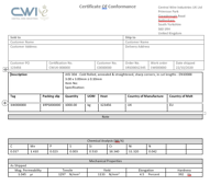 Certificate of Compliance Profile Wire